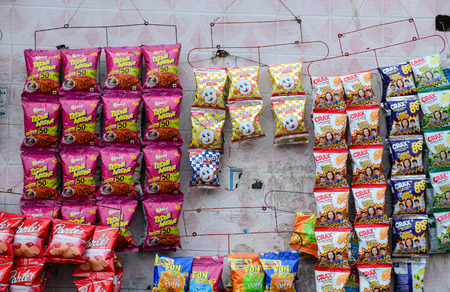 Amritsar, India - Jul 25, 2015. Snack and chip for sale at a grocery store in Amritsar, India.