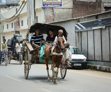 Amritsar, India - Jul 25, 2015. Horse cart on street in Amritsar, India. Amritsar is a holy city in the state of Punjab in India. It lies about 25 km east of the border with Pakistan. Editorial