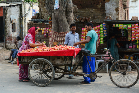 Amritsar, India - Jul 25, 2015. Street market in Amritsar, India. Amritsar is a holy city in the state of Punjab in India. It lies about 25 km east of the border with Pakistan.