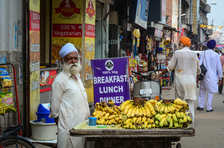 Amritsar, India - Jul 25, 2015. A vendor selling banana in Amritsar, India. Amritsar is home to the Harmandir Sahib, the spiritual and cultural centre for the Sikh religion.