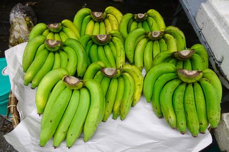 Banana fruits for sale at rural market in Bangkok, Thailand. Stock Photo
