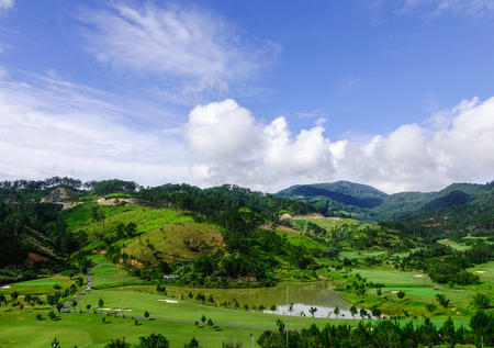 Forest and mountain in Dalat, Vietnam. Da Lat is located 1500 m above sea level on the Langbian Plateau.