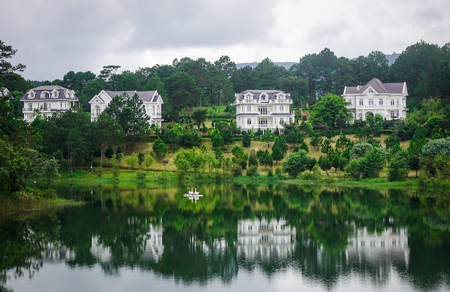 Dalat, Vietnam - Aug 18, 2017. Sacom Resort with a lake in Dalat, Vietnam. Da Lat is a popular tourist destination located 1500m above sea level on the Langbian Plateau. Editorial