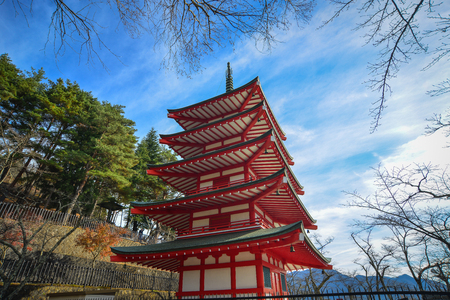 Chureito Pagoda at sunny day in Yamanashi, Japan. The Pagoda, built in 1963 as a peace memorial, is part of the Arakura Sengen Shrine.