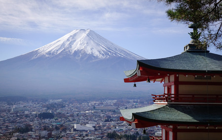 View of Mount Fuji from Chureito Pagoda. The symbol of Japanese culture, Mt. Fuji, an active volcano is the highest mountain in the country. Editorial