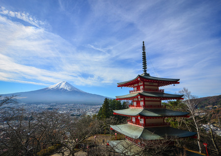 Mount Fuji and Chureito Pagoda in Yamanashi, Japan. The pagoda is a five storied pagoda resting on the side of a nearby mountain facing Fuji. Editorial