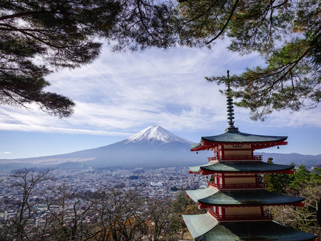Mount Fuji of Japan. This location is Chureito Pagoda, probably the most popular location featured on the tourism marketing material from Japan.