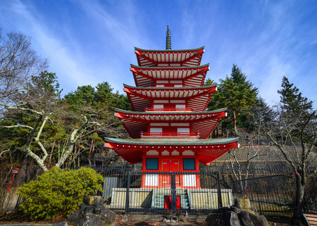 View of Chureito Pagoda in Yamanashi, Japan. The Pagoda, built in 1963 as a peace memorial, is part of the Arakura Sengen Shrine.