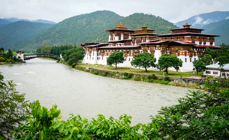 View of Punakha Dzong in Punakha, Bhutan. It is the second oldest and second largest dzong in Bhutan and one of its most majestic structures.