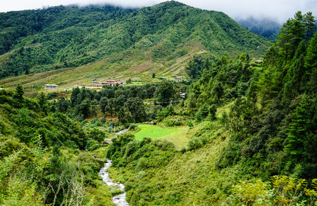 Mountain scenery at summer in Bhutan. Bhutan is geopolitically in South Asia and is the region second least populous nation after the Maldives.
