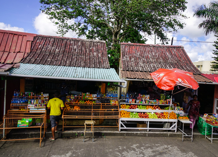 Port Louis, Mauritius - Jan 6, 2017. Grocery stores at countryside in Port Louis, capital of Mauritius. Port Louis is the business and administrative capital of the island.