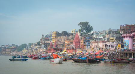 Varanasi, India - Jul 12, 2015. Landscape of the Ganges River in Varanasi, India. Varanasi, once known as Benares or Banaras and Kashi, is a historical city in northern India.