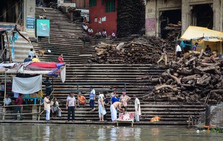 benares: Varanasi, India - Jul 12, 2015. Burning ghats on the Ganges Riverbank in Varanasi, India. Varanasi, also known as Kashi and Benaras, is the cultural capital of India.