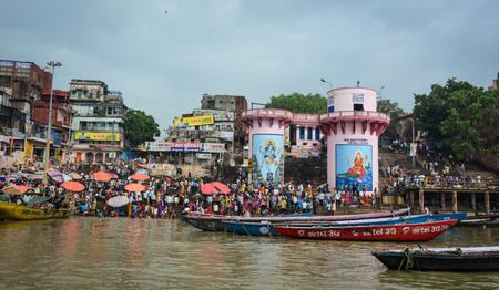 benares: Varanasi, India - Jul 12, 2015. Landscape of the Ganges Riverbank in Varanasi, India. Varanasi is one of the most fascinating places on earth, surprises abound around every corner. Editorial