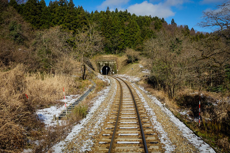 A railtrack with snow in Nagano, Japan. Nagano Prefecture (Nagano-ken) is a landlocked prefecture of Japan located in the Chubu region.