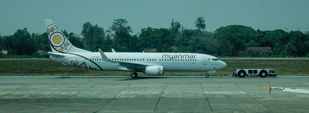 Yangon, Myanmar - Feb 27, 2016. A civil aircraft at airport in Yangon, Myanmar. Yangon Airport (Mingladon) is located approximately 30 minutes north of the city centre.