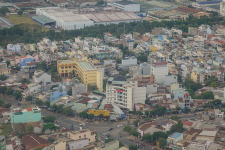 steadily: Yangon, Myanmar - Feb 27, 2016. Aerial view of business district in Yangon, Myanmar. The city area has steadily increased to 598.75 square kilometres in 2008.