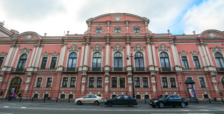 St. Petersburg, Russia - Oct 8, 2016. Old buildings on Nevsky Prospect in St. Petersburg, Russia. St. Petersburg is one of the modern cities of Russia, as well as its cultural capital. Editorial