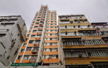 Hong Kong - Mar 29, 2017. Old buildings located at Causeway Bay District in Hong Kong, China. Housing in Hong Kong varies by location and income. Editorial