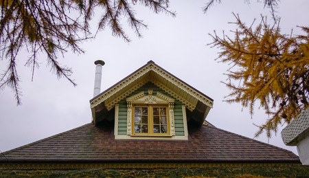 Roof top of wooden house in Suzdal Ancient Town, Russia. Stock Photo