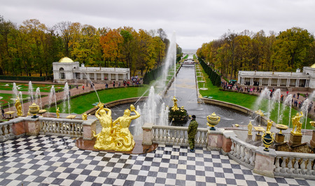 St. Petersburg, Russia - Oct 9, 2016. Grand Cascade of Peterhof Palace in St. Petersburg, Russia. The palace along with the city center is recognized as a UNESCO Site.