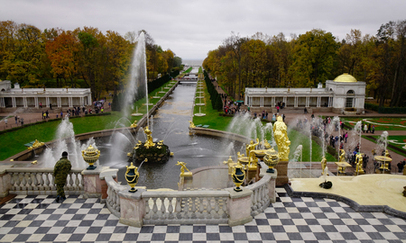 St. Petersburg, Russia - Oct 9, 2016. Grand Cascade of Peterhof Palace in St. Petersburg, Russia. Grand Cascade is modelled on one constructed for Louis XIV at his Chateau de Marly.