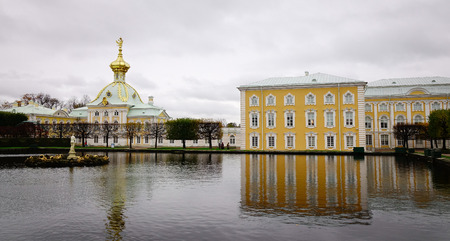 windows frame: St. Petersburg, Russia - Oct 9, 2016. View of Peterhof Palace in St. Petersburg, Russia. The palace along with the city center is recognized as a UNESCO World Heritage Site. Editorial