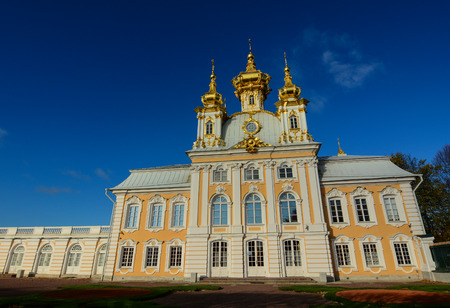 Ancient palace at sunny day in Saint Petersburg, Russia. Editorial
