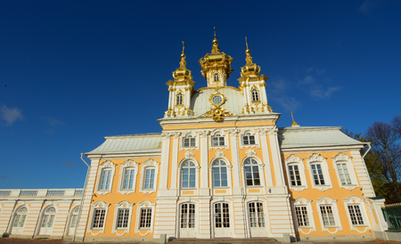 Ancient palace under blue sky in Saint Petersburg, Russia.