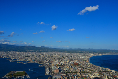 Aerial view of Hakodate City in Hokkaido, Japan. Hokkaido is the second largest, and least developed of Japan four main islands.