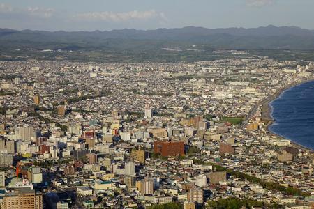 Hokkaido, Japan - Sep 30, 2017. Aerial view of Hakodate City in Hokkaido, Japan. The port of Hakodate was surveyed by a fleet of five U.S. ships in 1854.
