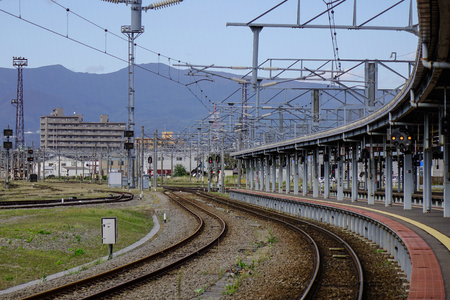 sep: Hokkaido, Japan - Sep 30, 2017. View of Hakodate JR Station in Hokkaido, Japan. Railways are the most important means of passenger transportation in Japan. Editorial