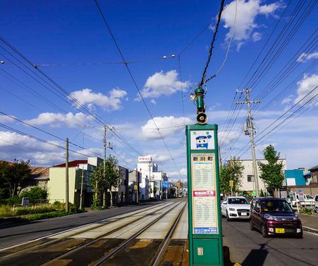 北海道 - 9 月 30、2017。函館, 北海道, 日本のトラムの駅の様子函館 (函館市) 市は、渡島支庁、北海道に位置する港。