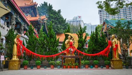 Hong Kong - Mar 30, 2017. Yue Lao Statues at Wong Tai Sin Temple in Hong Kong, China. Wong Tai Sin or Huang Daxian is a Chinese Taoist deity popular in Hong Kong.