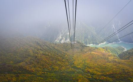 Mt. Tate with cable system at misty day in Toyama, Japan. Mt. Tate (Tateyama) is one of Japans three holy mountains and perhaps the easiest to summit.