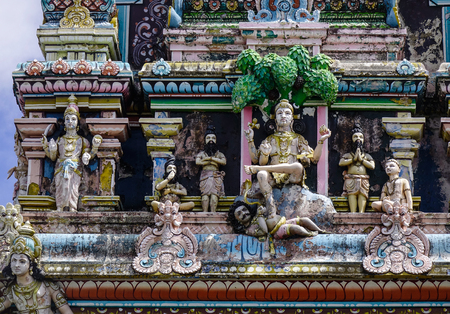 Decoration of an ancient Hindu temple in Mauritius Island.