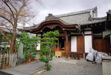 Kyoto, Japan - Nov 29, 2016. Traditional ancient wooden house in Kyoto, Japan. Kyoto served as Japan capital and the emperor residence from 794 until 1868.