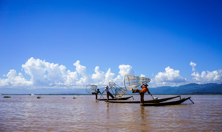 Intha fishermen working on Inle Lake, Myanmar.