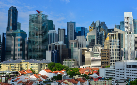 Singapore - Jun 12, 2017. Finance district of Singapore. The Singaporean economy is known as one of the freest, most innovative, most dynamic and most business-friendly.