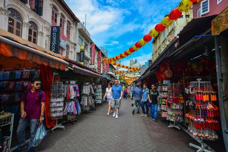 Singapore - Jun 12, 2017. People on street of Chinatown district in Singapore. Singapore Chinatown is a world famous bargain shopping destination.