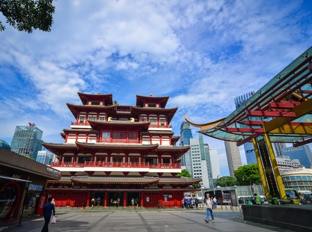 tang: Singapore - Jun 12, 2017. Tooth Relic Temple and Museum with Tang dynasty architectural style and built to house the tooth relic of the historical Buddha in Singapore.