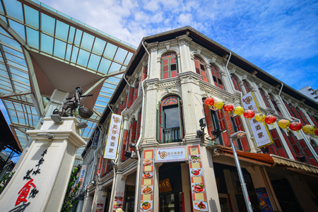 Singapore - Jun 12, 2017. Old buildings located at Chinatown district in Singapore. Singapore Chinatown is a world famous bargain shopping destination.