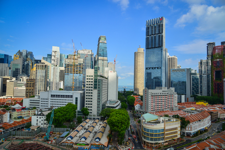 Singapore - Jun 12, 2017. Cityscape of Singapore. The Singapore attracts a large amount of foreign investment as a result of its location, skilled workforce, low tax rates. Editorial