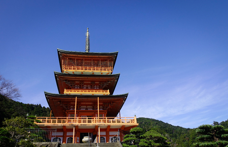 Seigantoji Shrine at sunny day in Wakayama, Japan. The temple in Wakayama is registered as a UNESCO World Heritage site.