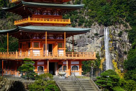 shinto: Close-up of Seigantoji Shrine and Nachi no Taki (waterfall) in Wakayama, Japan.