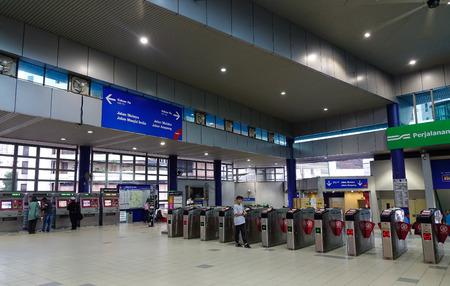 Kuala Lumpur, Malaysia - Jan 2, 2017. Entrance of metro station in Kuala Lumpur, Malaysia. Rail transport in Kuala Lumpur encompasses the light metro (LRT) and monorail.