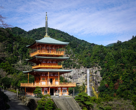 Seigantoji Shrine and Nachi no Taki (waterfall) in Wakayama, Japan. The temple is registered as a UNESCO World Heritage site as part of Sacred Sites and Pilgrimage Routes. Editorial