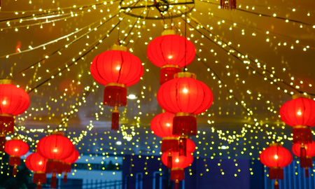 Blurred of red lantern for background at a shopping mall during Lunar New Year.