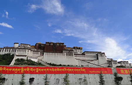 Tibet, China - Sep 6, 2010. Potala Palace in Lhasa, Tibet Region, China. Potala was the residence of the Dalai Lama until the 14th Dalai Lama fled to India during the 1959.
