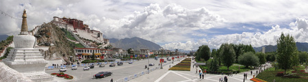 Tibet, China - Sep 6, 2010. Panorama of Potala Palace in Lhasa, Tibet Region. Potala was the residence of the Dalai Lama until the 14th Dalai Lama fled to India during the 1959.